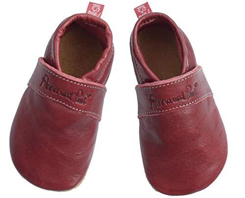 Anna und Paul Krabbelschuhe Uni rubinrot 1090/28 - Gr. XS-L - mit Ledersohle (S -18-19 ca.12 cm - 6-11 Monate)