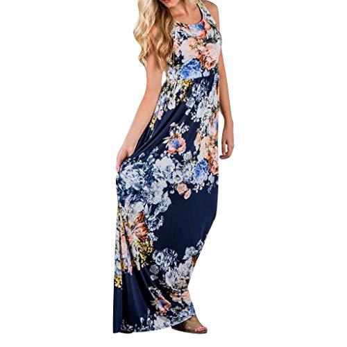 LUGOW Ärmellos Maxikleid Damen Boho Drucken Abendkleider Strandkleid Sommerkleider Günstig Cocktailkleider FreizeitKleider Blusenkleid T Shirt PartyBallkleid(X-Large,Blau)