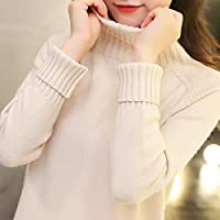 IJL Los Jerseys de Cuello Alto Usan Modelos de otoño e Invierno con un suéter Holgado con Capucha y un Engrosamiento de Tela Beige