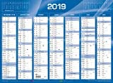 QUO VADIS - 1 Calendrier de Banque Bleu - Année 2019 - 55x40,5 cm carton rigide...
