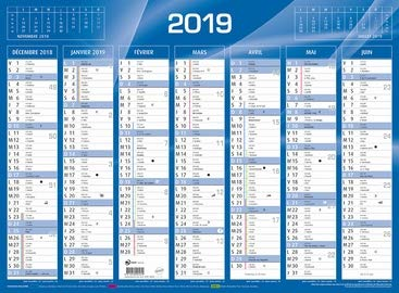 QUO VADIS - 1 Calendrier de Banque Bleu - Année 2019 - 55x40,5 cm carton rigide