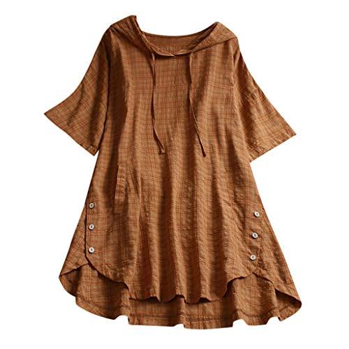 CRRE Damen Große Größe T-Shirt Baumwolle Leinen T Shirt Oversized Knöpfe Oberteile Hoodie Frauen Plaid Button Mit Kapuze High Low Plus Size Bluse mit Taschen Bluse