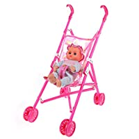 Dolls Buggy Stroller Pushchair Pram Foldable Girls Toy Doll Pram Baby Doll