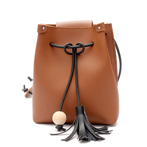 QPALZM 2017 Frau Fashion Drawstring Quaste Schulter Individualität Skew Tight Handtasche Brown