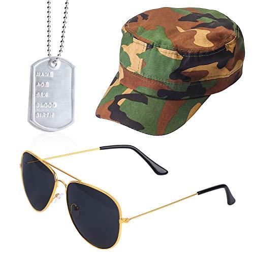 Beefunny Instant Army Kostüm Set - Camouflage HAT Erkennungsmarken Gold Aviators Herren Damen Unisex ... (Mehrfarbig1) (Camo Soldat Kinder Kostüm)