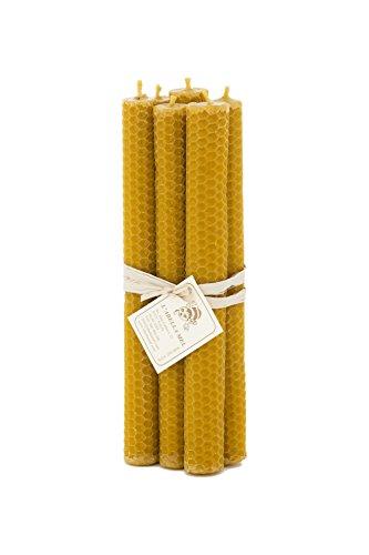 L'Abella 100% Bienenwachskerzen aus Spanien - reines Naturprodukt - direkt vom Imker - Honigduft - in Handarbeit gefertigt - 6 Kerzen mit je ca.20 cm x 2 cm