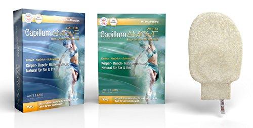 Capillum AMOVE Wheat geruchlos & Natural mit angenehmem neutralem Geruch (2x200g) + Exclusive Brennessel Peelinghandschuh 100% Natürlich - Für Mann & Frau (Frau Laser-rasierer)