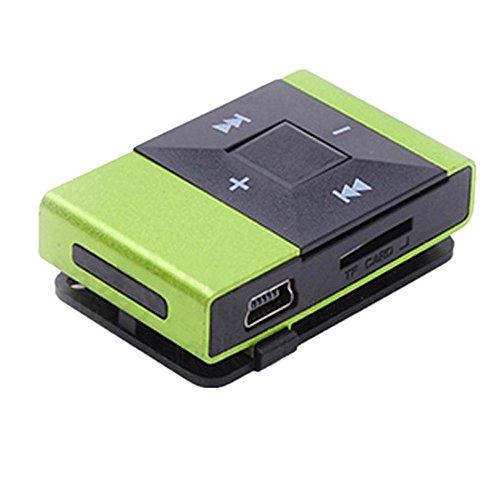 Amlaiworld Legierungsschale USB Mini MP3-Player Casual Fitness Elektronisch geräte Sport Urlaub Musik Player Lässig Classic Clip Tragbare Audio Zubehör Unterstützt 8GB SD TF Karte (Grün)