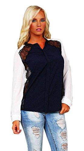 10250 Fashion4Young Damen Sexy Langarm Bluse aus Chiffon verfügbar hemd in 4 Farben 3 Größen (S=36, Dunkelblau)