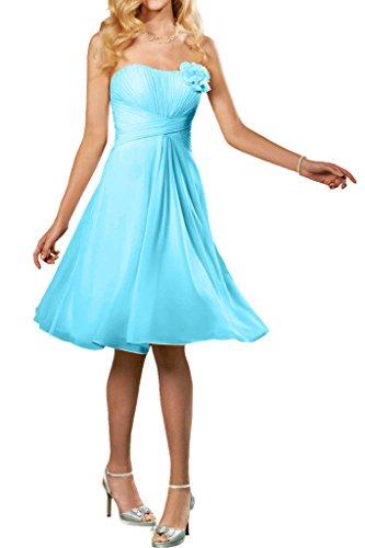 La_mia Braut Herrlich Chiffon Geraft Traegerlos Abendkleider Brautjungfernkleider Promkleider A-linie knie-lang Blau
