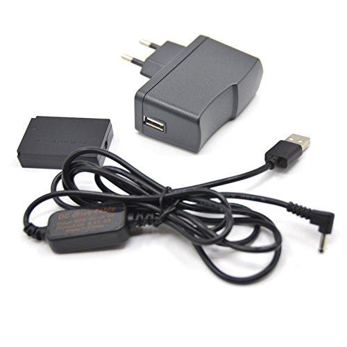5V-8.4V USB-Laufwerk Kabel ACK-E12 Mobiles Netzteil + DR-E12 DC-Koppler LP-E12 Dummy Batterie DC Grip + 5V 3AMP Adapter Kit für Canon EOS M EOS M2 (3 Amp Stromversorgung)