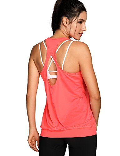 SYROKAN Damen Sport Tank Top - Essential Fitness T-Shirt Tops Orange-R021 38 (S)