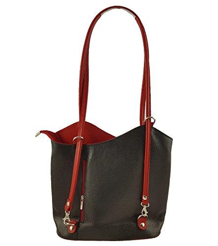 Freyday 2 in 1 Handtasche Rucksack Designer Luxus Henkeltasche aus Echtleder in versch. Designs (Glattleder Schwarz-Rot) (Buch Geldbörse)