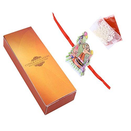 Ethnic Style Handcrafted Elegant Designer Chota Bheem Rakhi for Kids (With Kumkum & Akshat)  available at amazon for Rs.179