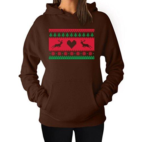 mas Sweater Reindeer Design Xmas Gift Idea Women Hoodie XX-Large Brown (Ugly Christmas Sweater Ideen)