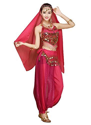 Rosa Bauchtänzerin Kostüm - Grouptap Frauen Bauchtänzerin 4-teilige Kostüm-Set Outfit mit Top-Hosen Kopf Schleier Hüfttuch für arabischen ägyptischen Tanz (Rosa)