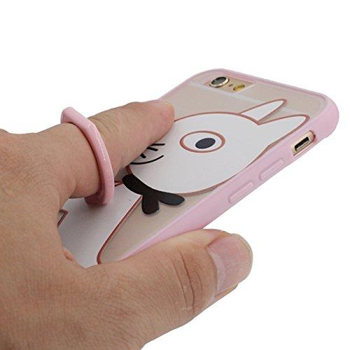Apple iPhone 6 Plus / 6S Plus 5.5 inch Coque de Protection Case, Bague Conception Titulaire Fonction, Dur Gel Transparent Charmant Cartoon Animal Motif Très Léger / Style de Mince Rose