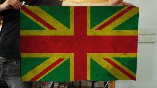 L&S PRINTS FOAM DESIGNS Jamaican Grunge Union Jack Flagge Design Stoff Banner Flagge