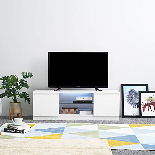 Anaelle Panana LED Meuble TV en MDF Verre 2 Compartiments de Stockage sur Salle de Séjour, Salon Chambre à Coucher etc, Taile: 120 * 39 * 40cm, Poids: 24kg, Blanc
