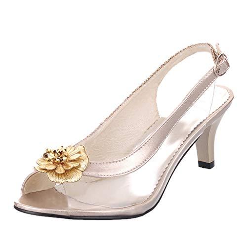 Felicove Damen Sandalette, Dünne Absatzsandalen Verschiedene Schuhstile Transparente Sandalen mit hohem Absatz (Fersenlänge 5cm-8cm), EU 35-43