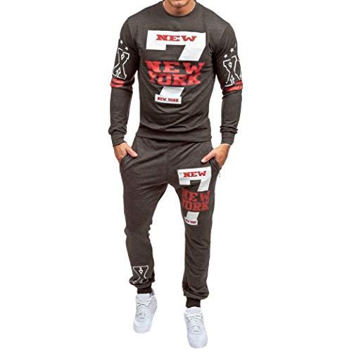 WWricotta Conjuntos Sudaderas + Pantalones Estampado Camisetas para Hombre Camisa de Manga Larga Casual Deportes Chándal Streetwear 2PCs
