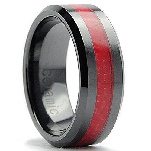 8MM Herren Schwarz Keramik Ehering Mit Rot Kohlefaser Einlage,Bequemlichkeit Passen,Größe 50to 15