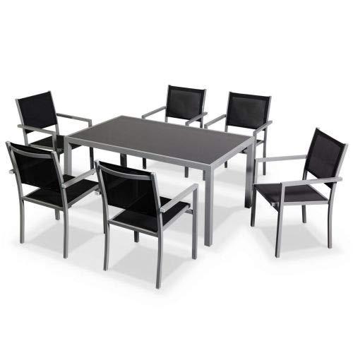 Salon de Jardin en Aluminium et textilène - Capua - Gris, Noir - 6 Places - 1 Grande Table rectangulaire, 6 fauteuils empilables