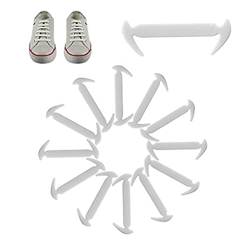 12pcs Lazy No Tie Shoe Lace Elastic Silicon Waterproof Shoelaces for Kids and Adults Sneakers, Boots, Casual ShoesWHITE