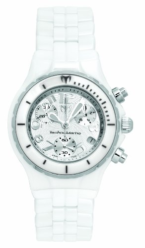 Technomarine Femme montre chronographe Tc05C avec cadran blanc et bracelet en céramique Blanc