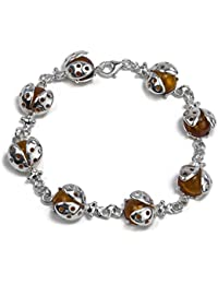 Honey Amber Sterling Silver Ladybug Bracelet 19.5 cm