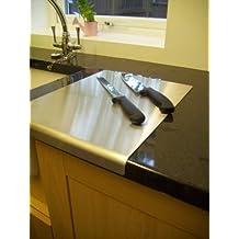 Avonstar Trading Co. Ltd Planche à découper en inox pour plan de travail Bouts arrondis Pieds antidérapants 50x50cm