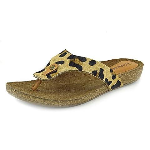 Chaussures de plages en cuir naturel Kick Footwear pour femmes –Tongs, sandales - multicolore - léopard,