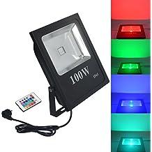 RSN LED 100W Foco RGB con Mando a distancia exterior Leuchten resistente al agua IP65Cambio de color conector europeo 220V con el mando a distancia