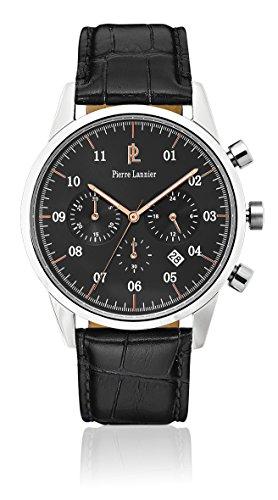 Pierre Lannier-223D183, Week End Vintage-Reloj de pulsera con cronógrafo para hombre, color Gris de cuarzo, brazalete de cuero, color negro