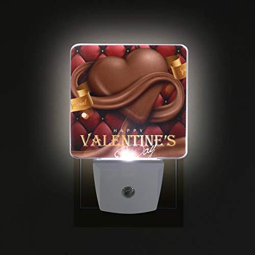 Ahomy - luce notturna a led, per san valentino, con sensore automatico a forma di cuore, dal tramonto all'alba, plug in, confezione da 2