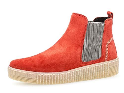 Gabor Damen Chelsea Boots 33.731, Frauen Stiefelette,Stiefel,Halbstiefel,Bootie,Schlupfstiefel,flach,rot/beige (Natur),40 EU / 6.5 UK