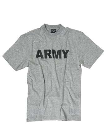 TEE SHIRT GRIS CHINE COL ROND ET MANCHES COURTES IMPRIME ARMY NOIRE MILTEC 11063008 AIRSOFT ARMEE US - Gris - 36