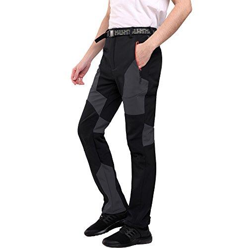 Sidiou group pantaloni da trekking uomo pantaloni softshell pantaloni da arrampicata pantaloni da escursionismo pantaloni impermeabili esterni all'aperto pantaloni antivento foderati (nero, m 33 (vita 84-94cm))