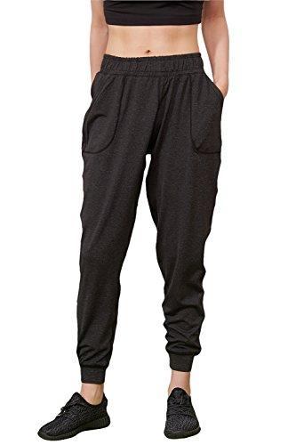 Shmimy Sweathose Damen Sport Training und Freizeit Baggy Harem Jersey Hose mit Bündchen-schwarz/dunkelgrau,lang (dunkelgrau) (Schwarz Hosen Harem)