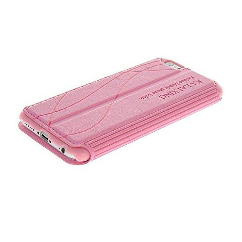 UKDANDANWEI Apple iPhone 8 Plus [CJ] Case - Magnetisch Leder Tasche Flip Case Cover Schutzhülle Etui Hülle Schale mit Fenster Ansicht Für Apple iPhone 8 Plus - Weiß Rosa