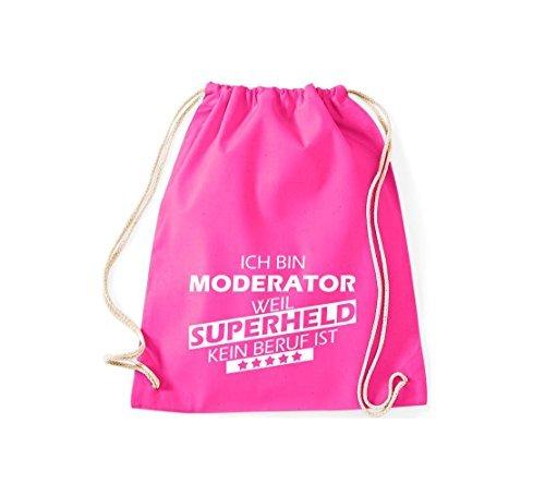 Shirtstown Borse palestra Ich bin Moderatore, weil Super eroe niente Occupazione è - Viola, 37 cm x 46 cm rosa