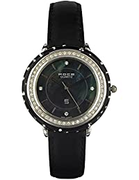 FOCE Black Round Analog Mother of Pearl Wrist Watch for Women with Black Genuine Leather Strap - F455LSL-BLACK
