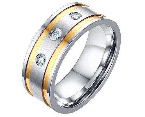 PAURO Herren Edelstahl 8Mm Breite Silber Und Zirkonia Ring Verlobungsringe Gold Größe (Kostüm Rost Weiblich)