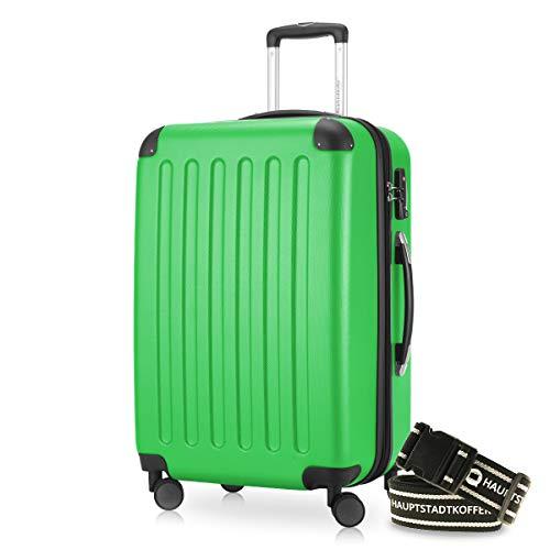 HAUPTSTADTKOFFER Valigia 82 litri Nuovo: 4 ruote gemelli superficia ruvida luchetto TSA seria SPREE (Colore Verde + una cintura per la valigia)