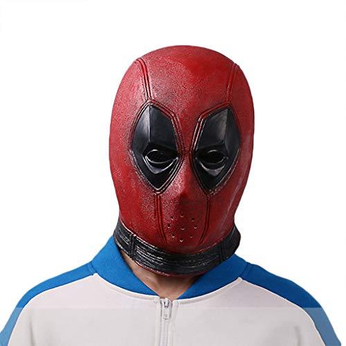 GanSouy Deadpool Maske, Deadpool Maske Männer Kostüm, DP Cosplay Kostüm Replica Maske Kopf Cosplay Maske, Halloween Maske Kopf,Deadpool A-56cm~62cm