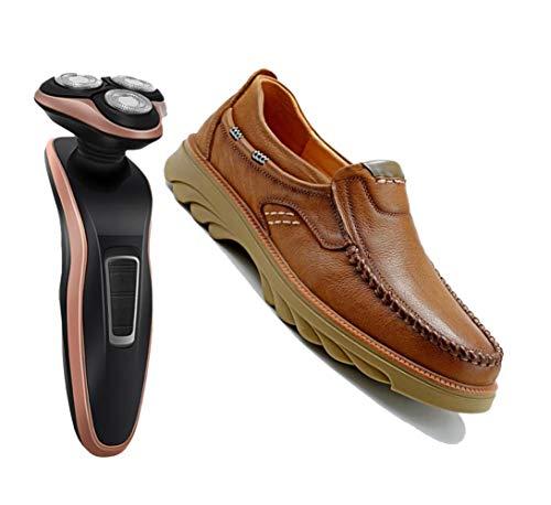 Marrone giallo quattro stagioni da uomo di scarpe casual a piattaforma traspiranti piatte da indossare da esterno fatte a mano,brown-42eu