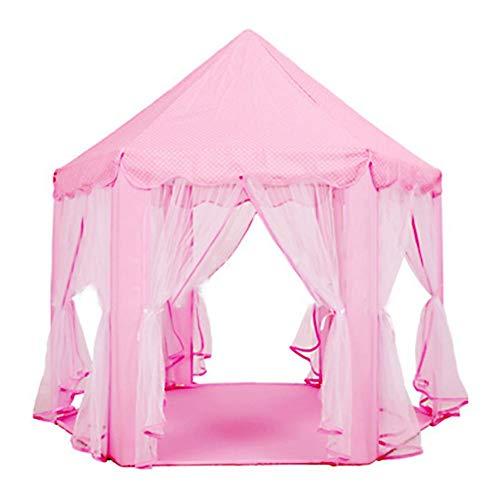 HEIRAO Tente de tipi de Filles, Tente d'hexagone d'enfants de château de Palais de Palais de Princesse d'hexagone pour intérieur et extérieur, Rose