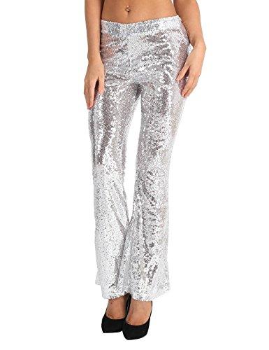 Tiaobug Damen Hose Schlaghose 70er Retro Kostüm Festlich Abendmode Pailletten Pants Glänzend Kleidung Clubwear Silber M(Taille 74cm)