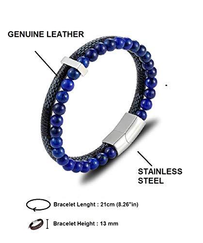 Imagen de ⭐️ idea de regalo ⭐️ pulsera de cuero genuino con perlas para hombres y adolescentes  cierre magnético  diseño de multicapa clásico y trenzado  2 colores  varios modelos disponibles alternativa