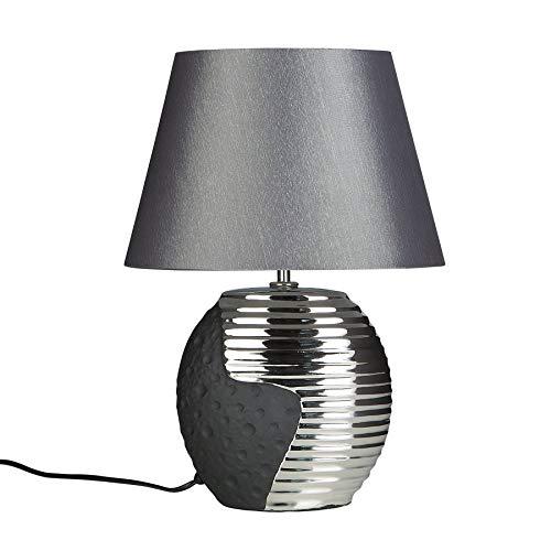 Lampe à Poser - Lampe de Salon, de Chevet, de Bureau - Noir et Argent - Esla